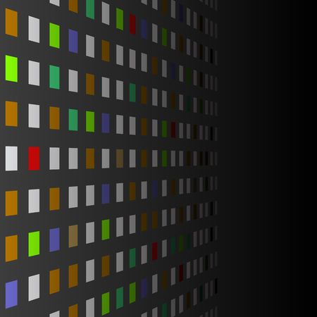 Background with multicolored squares in perspective illustration.