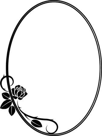Isolated frame with rose on white background illustration. Çizim
