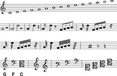Isolated symbols of music notation.
