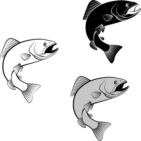 Set of isolated trout in clip art illustration and silhouette. Stock Illustratie
