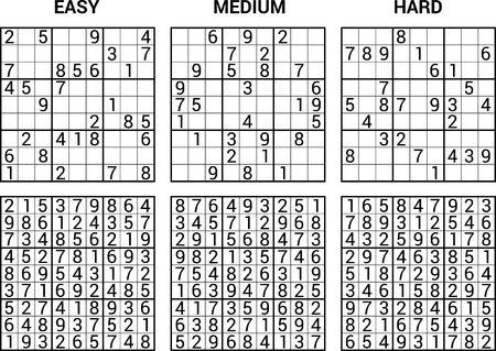 Sudoku Puzzle Spiel mit Antworten Vektor-Illustration Vektorgrafik