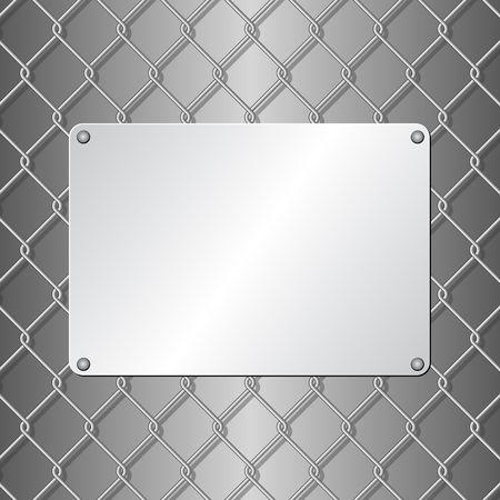 metallic plaque on wire mesh background
