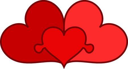 three conected hearts as family symbol
