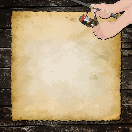 Fishing background, old sheet of paper on wooden planks