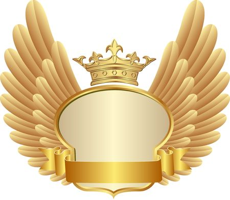 Golden frame with crown and wings
