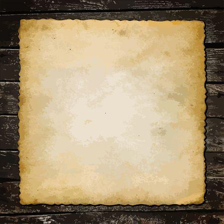old sheet of paper on wooden planks, grunge background Illustration