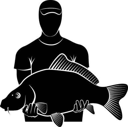 Silhouette of fisherman holding big carp fish