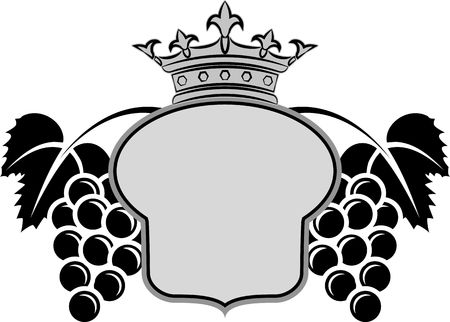 Decorative frame with crown and bunches of grapes