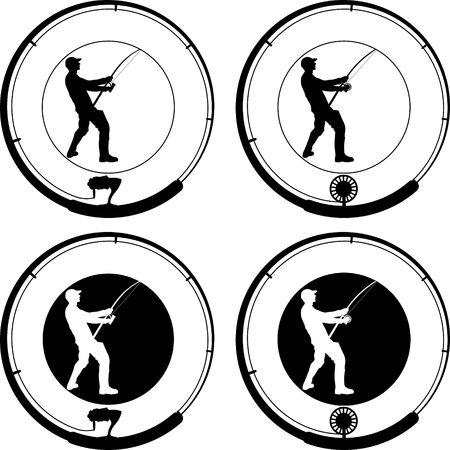 fishing badge with angler and fishing rod  Illustration