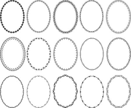 装飾的な楕円形の境界線のセット - デザイン要素