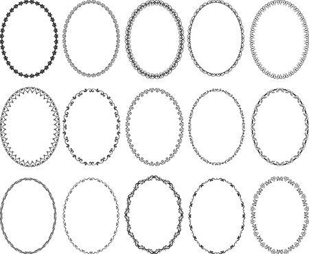 Set of decorative oval borders - design elements Reklamní fotografie - 101730034