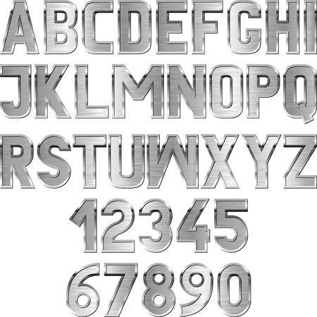 metallic textured font