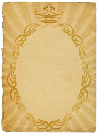 old sheet paper with royal frame