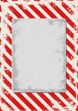 grunge warning background with red and white stripes