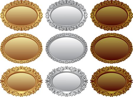 collection of golden, silver and bronze badges - design elements