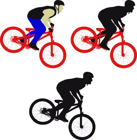 silhouette man on bicycle