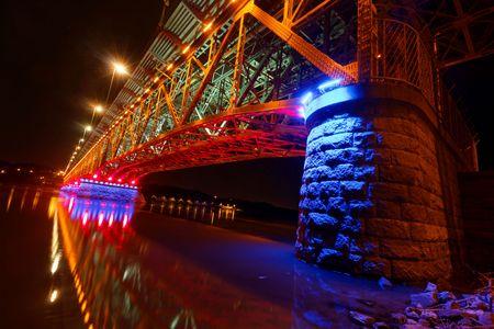 Illuminated bridge in Plock, Poland