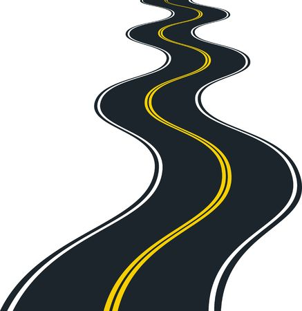 isolated road curves - clip art illustration
