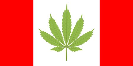 Canada flag with marijuana leaf Illustration