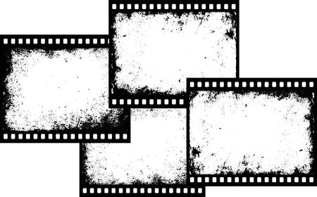 vier Grunge-Filmrahmen mit transparentem Raumeinsatz Vektorgrafik