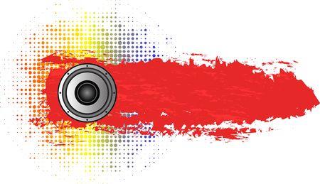 grunge music banner with speaker