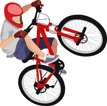 isolated man doing bike trick Illustration