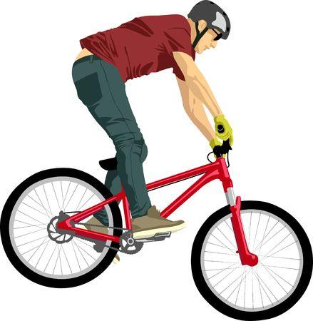 isolated man doing bike trick
