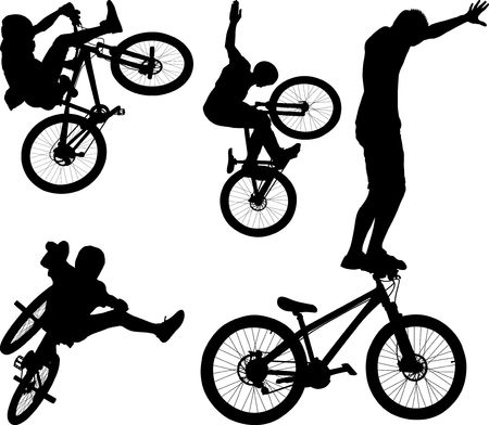 silhouette of male doing bike trick  Illustration