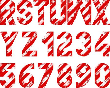 grunge font with white and red stripes