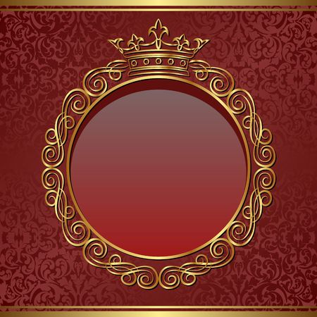 decorative background with crown and golden frame