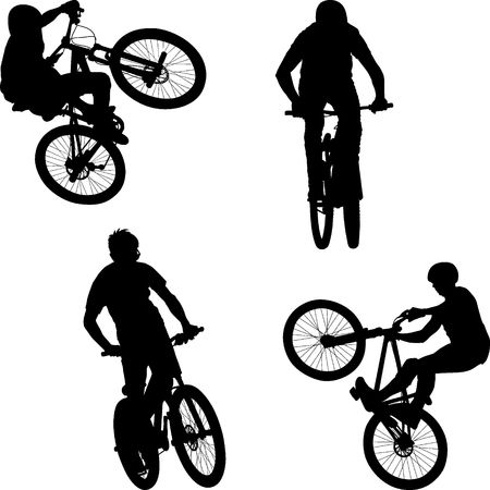 silhouette of male doing bike trick 일러스트