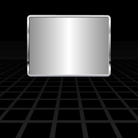 silver plaque on black background with perspective Vettoriali