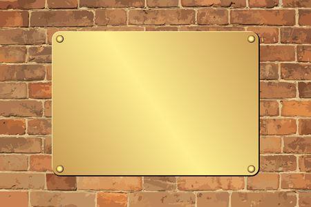 plaque dorée sur mur de briques Vecteurs
