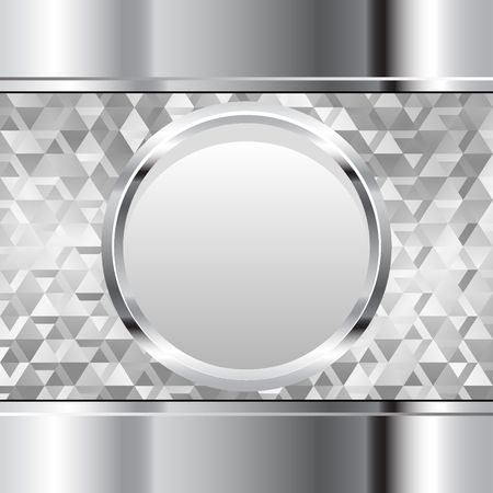 metal background with round banner