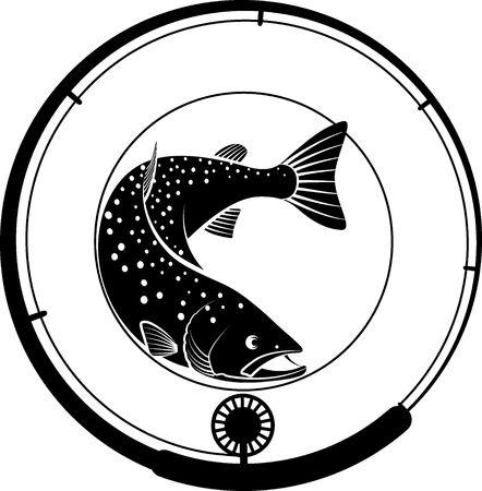insignia de pesca con pescado y caña de pescar.