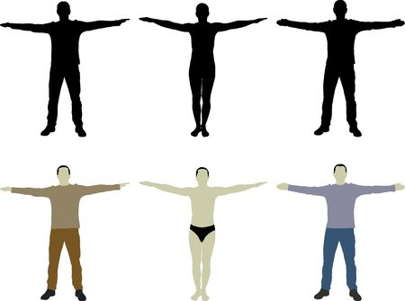 homme silhouette à bras ouverts Vecteurs
