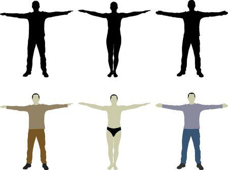 Silhouette Mann mit offenen Armen Vektorgrafik