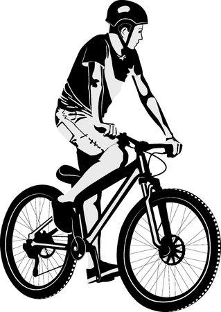 Hombre aislado haciendo truco en bicicleta Ilustración de vector
