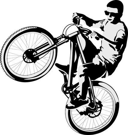 isolated man doing bike trick Çizim