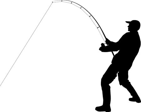 angler with fishing rod silhouette 向量圖像