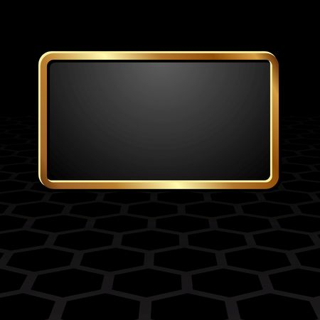 black background with perspective and golden frame Illusztráció
