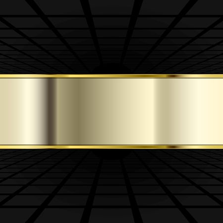 black background with perspective and golden banner