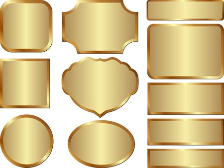 set of isolated golden metallic banner Vectores