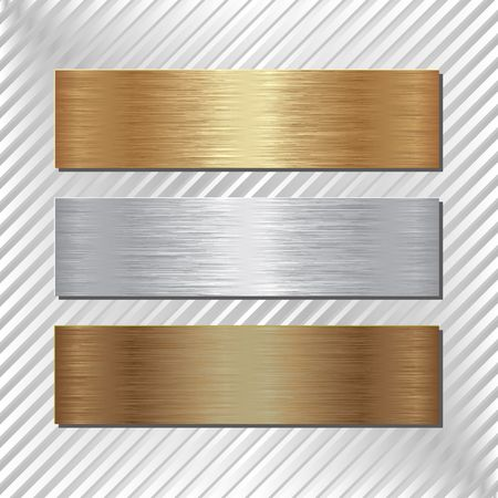 three metallic banners