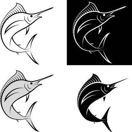 isolated swordfish - clip art illustration and line art Illustration