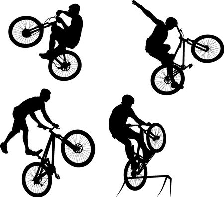 silhouette of male doing bike trick Illustration