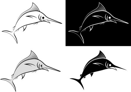 isolated marlin - clip art illustration and line art Stock Illustratie