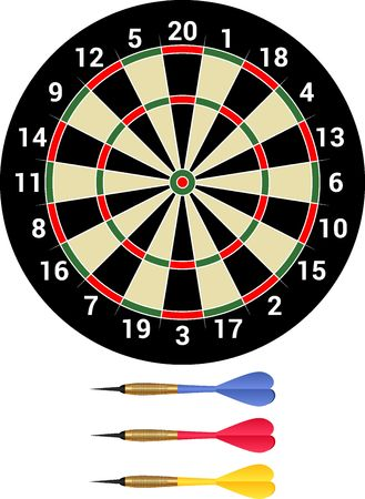 Darts - isolated dartboard and dartsmith Ilustrace