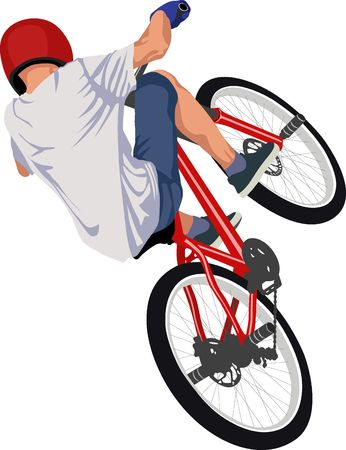 isolated male doing bike trick