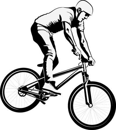 man doing bike trick - black and white vector illustration